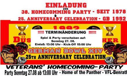 2017 Homecoming-Party und 25.Jahrestag des gewonnenen German-Bowl 1992