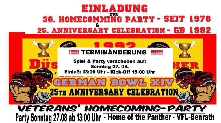 2017 Homecoming-Party und 25.Jahrestag des gewonnenen German-Bowl 1992