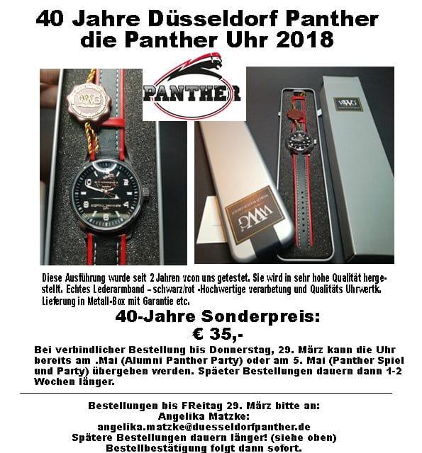 … ein Angebot aus den Reihen der Panther-Fans zum 40. Jubiläum der Panther.