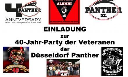 Einladung zur 40-Jahr-Party der Veteranen der Düsseldorf Panther.